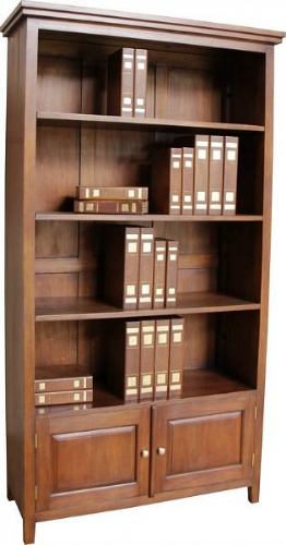 Tall and Wide Bookcase with Two Cupboards in Mahogany